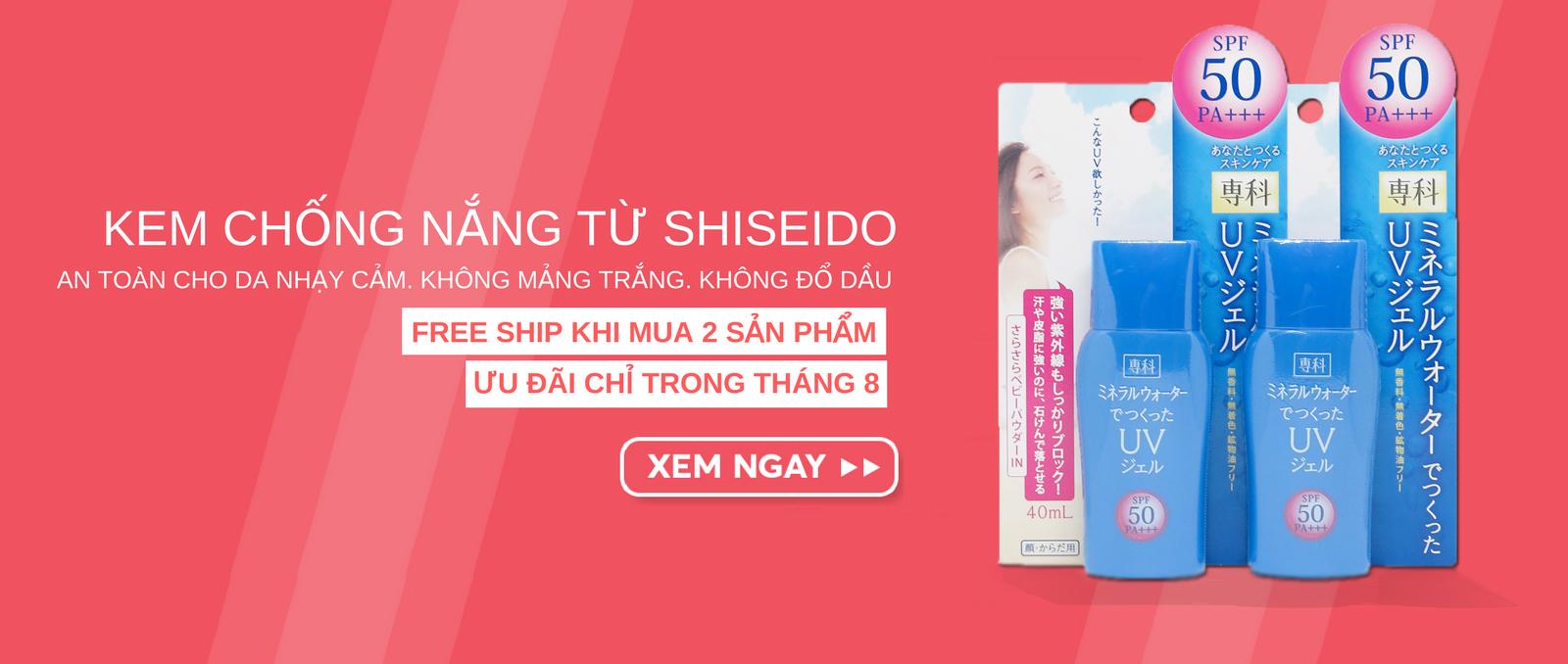 Khuyến mãi Free Ship khi mua 2 kem chống nắng màu xanh Shiseido Senka