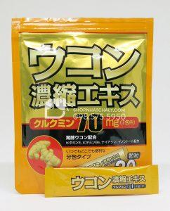 Bên trong túi bột nghệ Orihiro giải rượu là 20 gói nhỏ như thế này được chia sẵn. Mỗi lần dùng một gói rất tiện