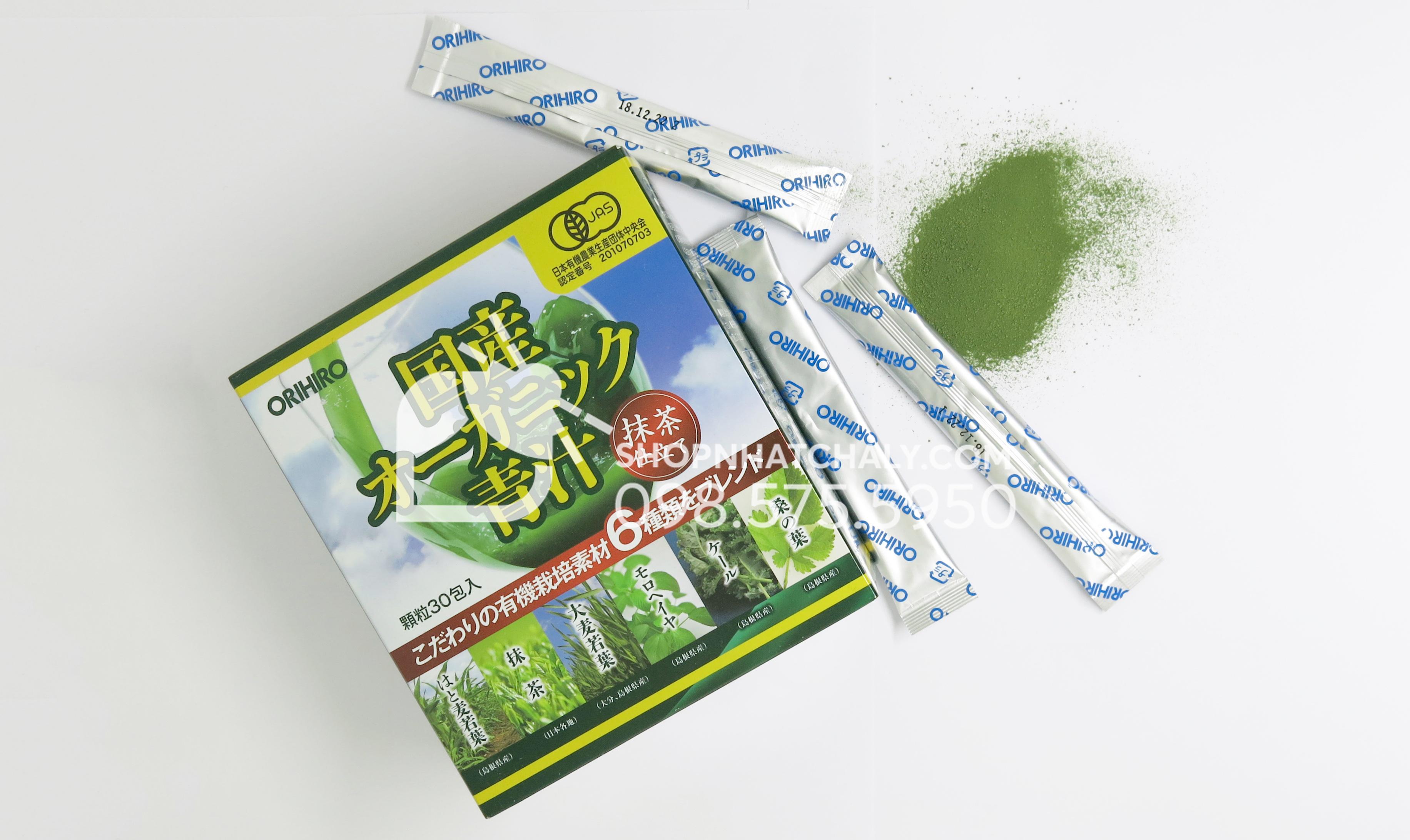 Bột rau xanh của Nhật Orihiro bột xanh rất mịn hòa tan nhanh với cả nước và sữa