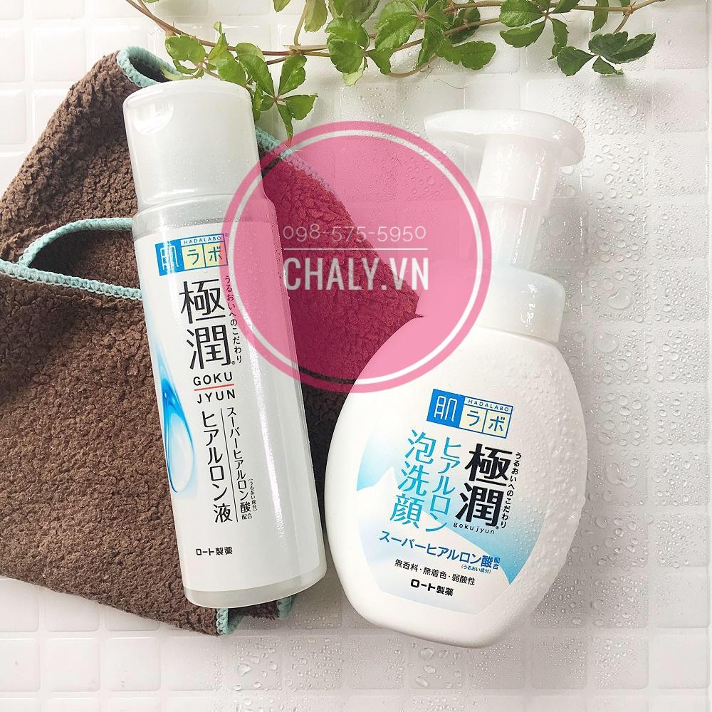 Cứ da thiếu ẩm thì mọi người kết hợp sữa rửa mặt hada labo dành cho da khô màu trắng với set dưỡng da hada labo gokujyun là ngon