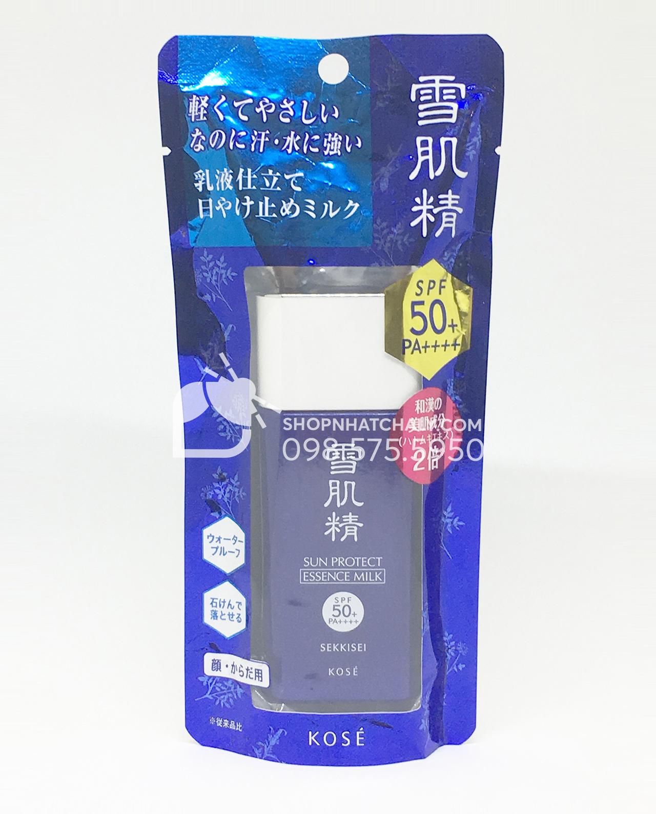 Kem chống nắng dưỡng da Kose dạng milk Sekkisei Sun Protect Essence Milk SPF 50 60gr