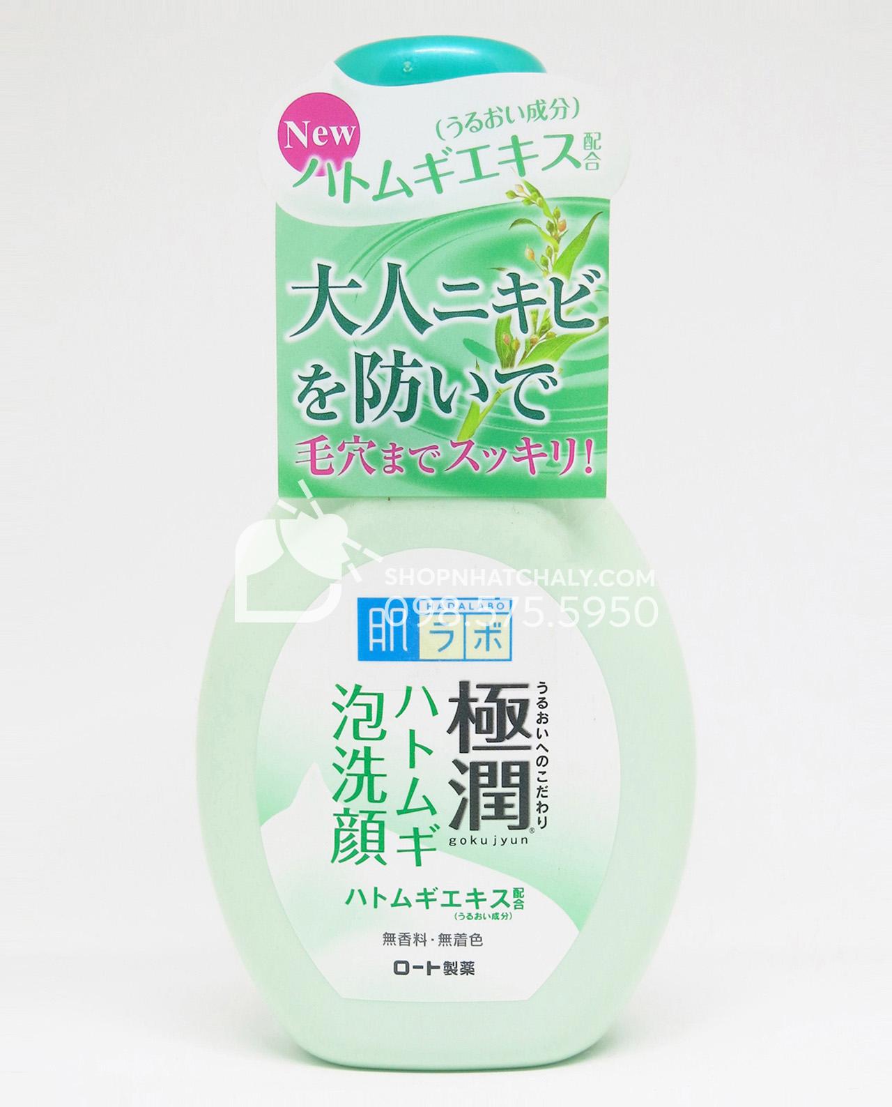 Sữa rửa mặt tạo bọt Hada Labo Nhật Bản Gokujyun Foaming Cleanser chai 160ml - Da dầu Da mụn