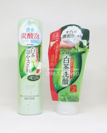 Sữa rửa mặt trà xanh Shirochasou Green Tea Foam Nhật Bản dạng tuýp và chai tạo bọt sẵn
