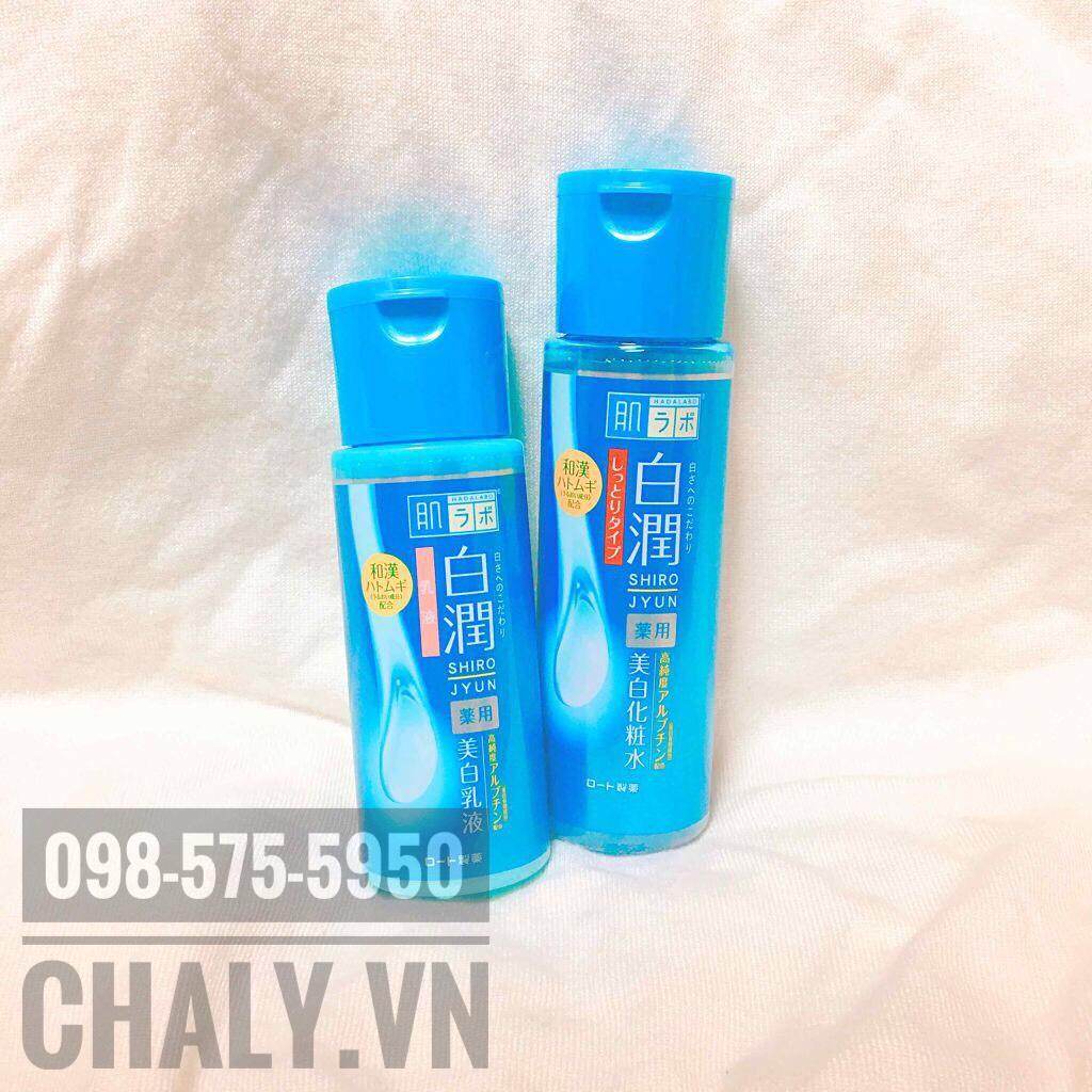 Mình dùng nguyên bộ lotion hadalabo xanh và sữa dưỡng emulsion cũng màu xanh dưỡng trắng luôn
