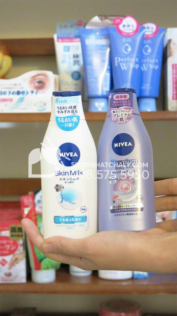 Sữa dưỡng thể Nivea Nhật Bản 200gr trên tay