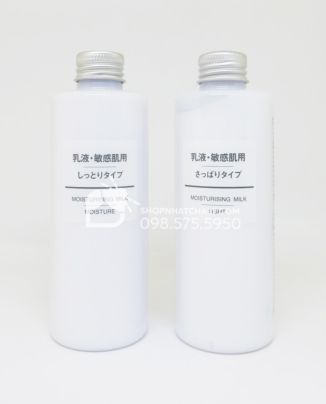 Sữa dưỡng da Muji Moisturising Milk Light và Moisture