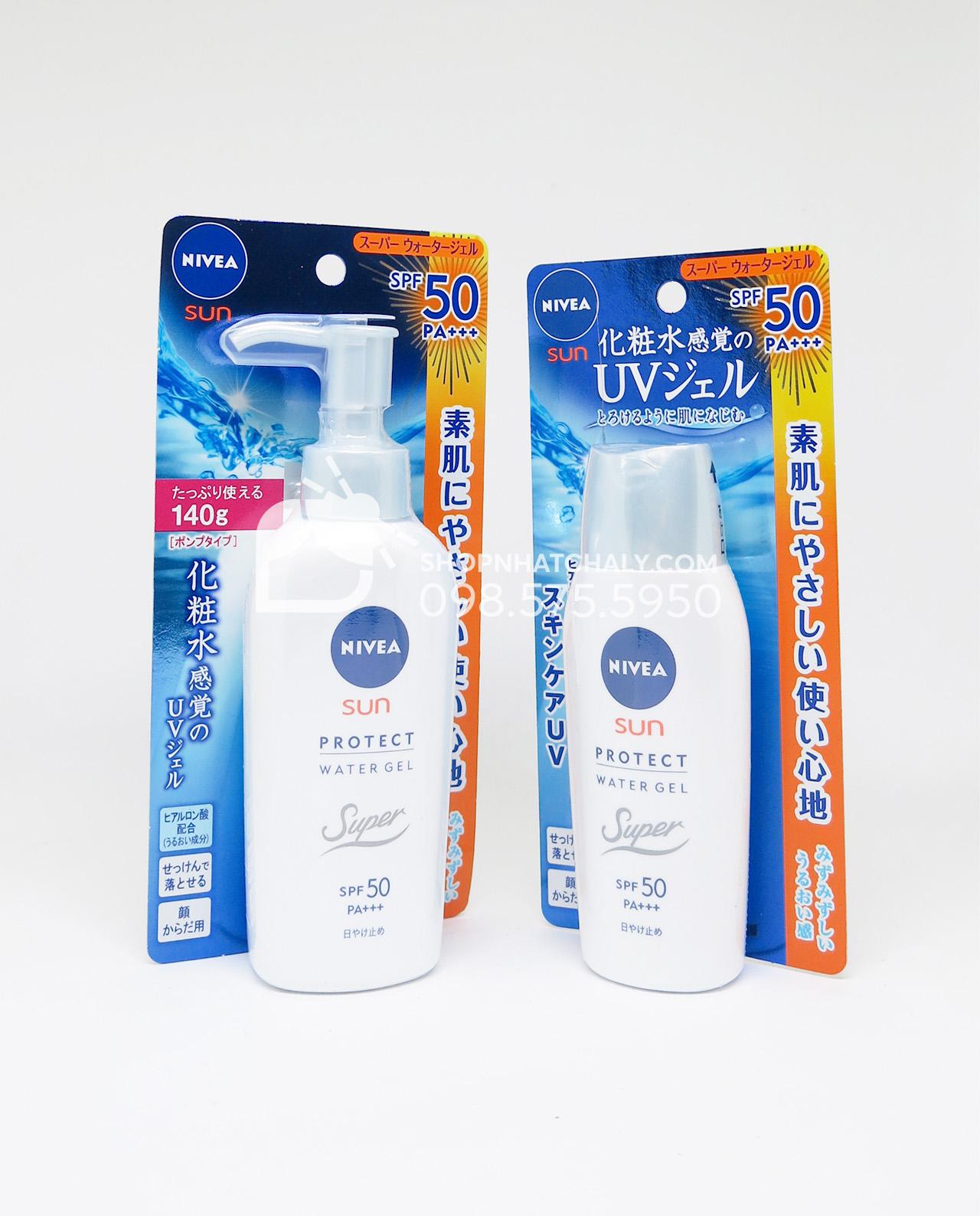 Kem chống nắng dưỡng da toàn thân Nivea SPF50 Nhật Sun Protect Water Gel 80g và 140g