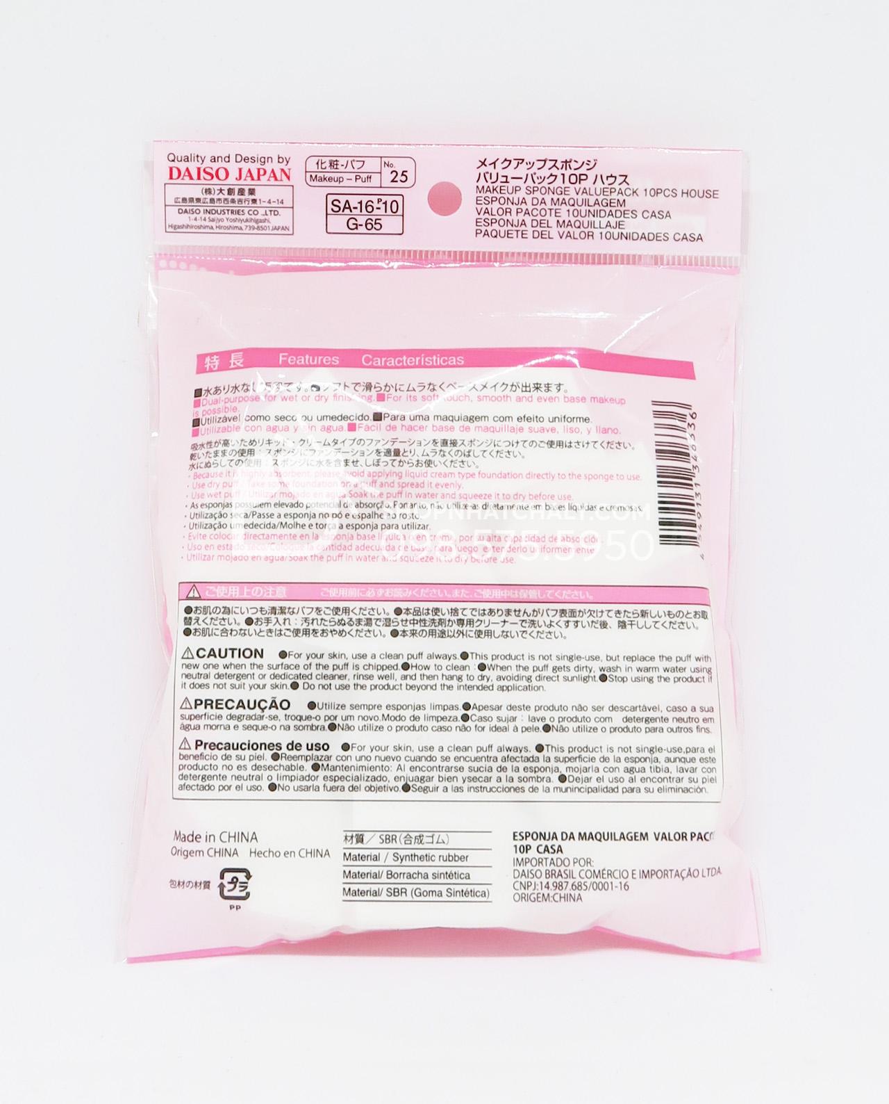 Thông tin sản phẩm Mút trang điểm Daiso Nhật túi 10 miếng