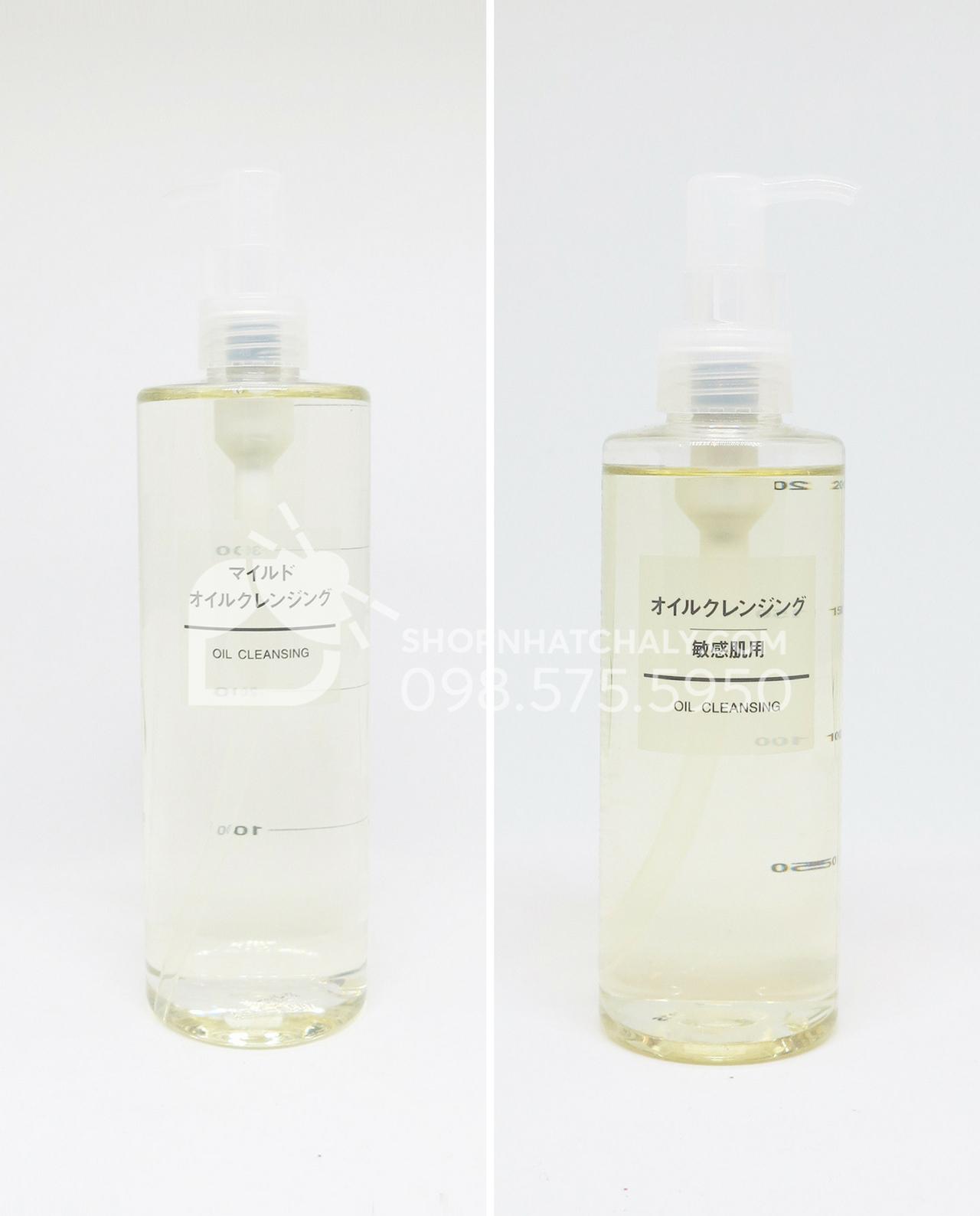 So sánh dầu tẩy trang Muji cho da nhạy cảm Sensitive và dầu tẩy trang Muji cho da dầu Mild Cleansing Oil