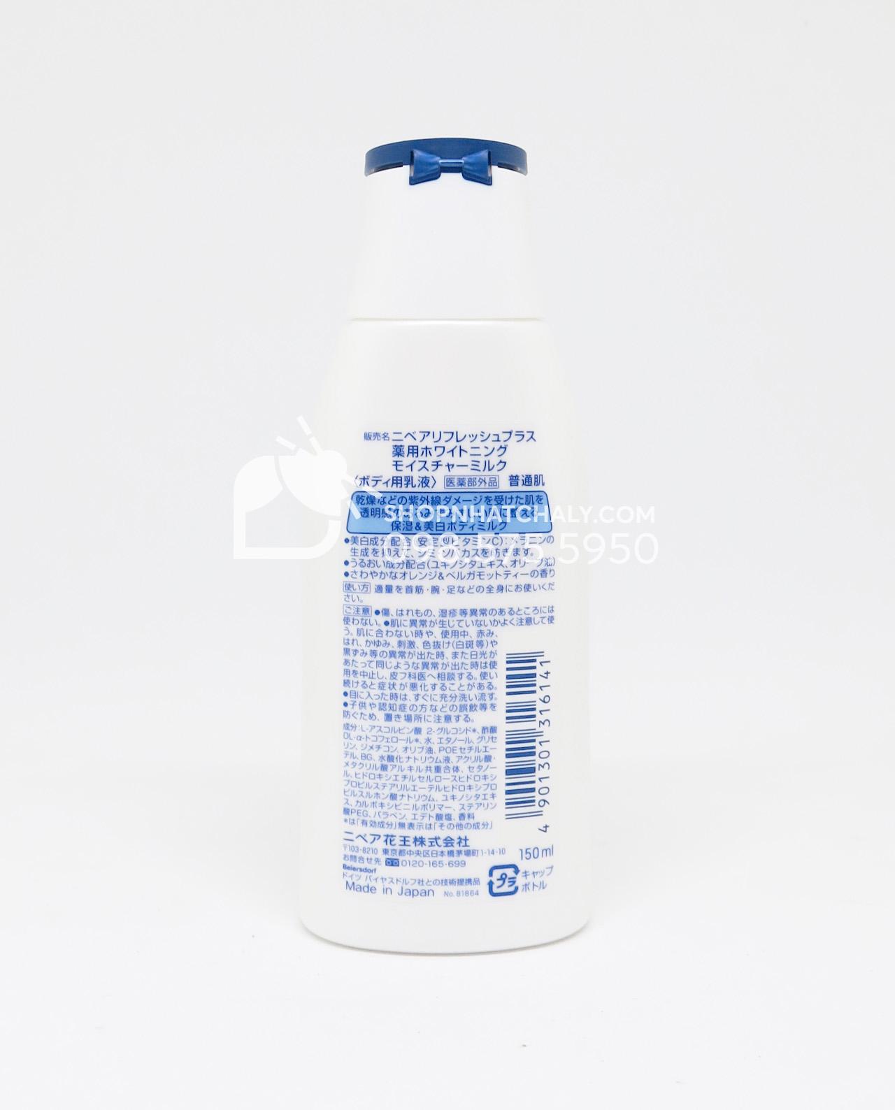 Thông tin sản phẩm gồm thành phần, công dụng và xuất xứ đều được nhà sản xuất in đầy đủ sau mỗi chai Sữa dưỡng thể trắng da Nivea Refresh Plus Whitening