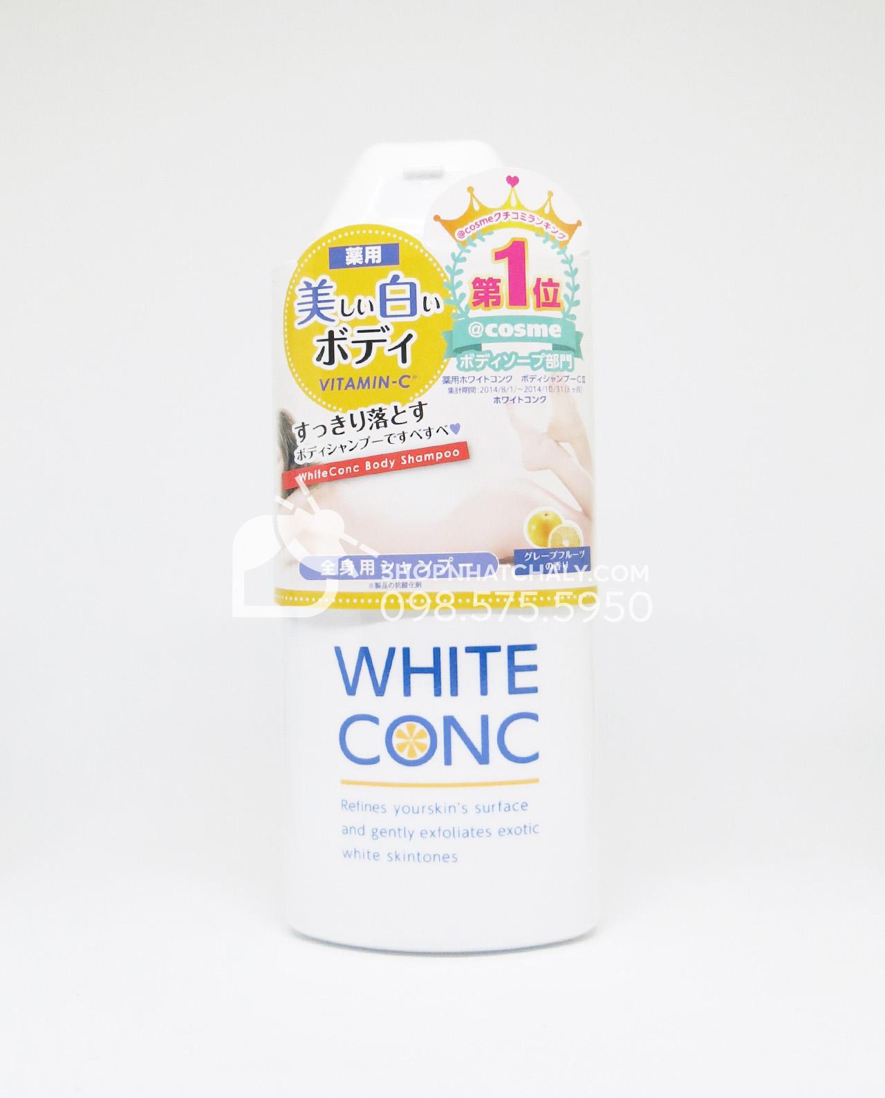 White Conc Body Shampoo là sữa tắm trắng phổ biến nhất tại Nhật. Là phương pháp tự tắm trắng tại nhà an toàn và hiệu quả được các bạn gái Nhật vô cùng ưa chuộng