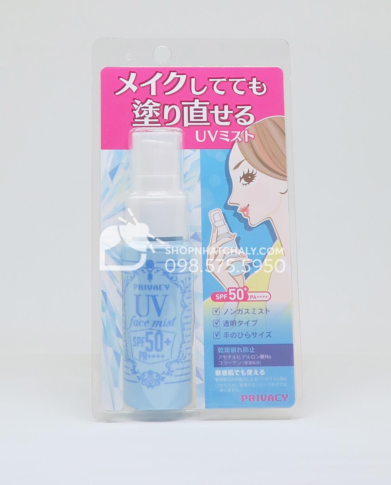 Kem chống nắng dạng xịt cho da mặt và body Privacy UV Face Mist SPF50 của Nhật mẫu mới 2018