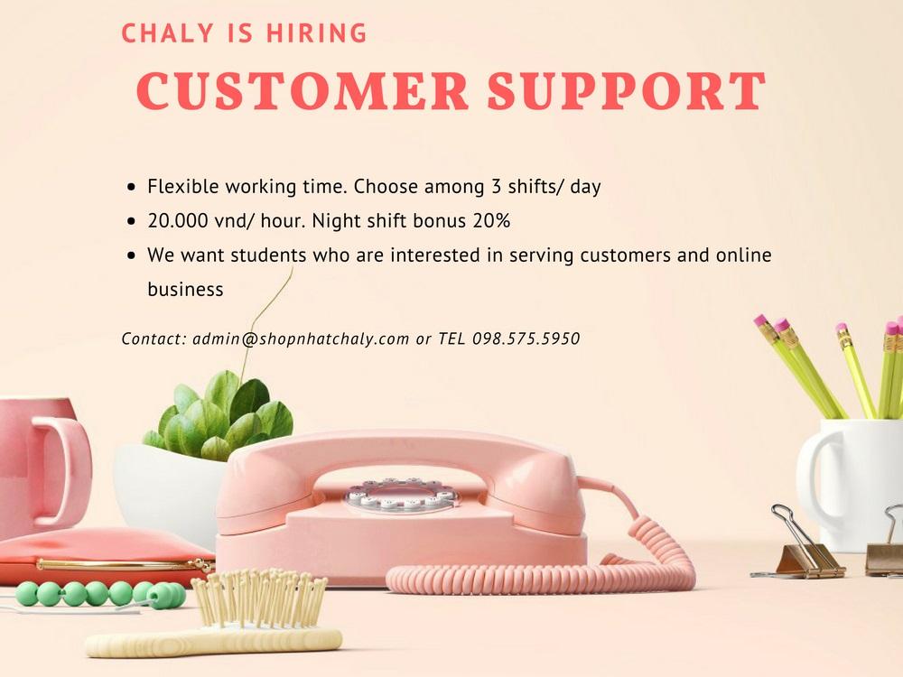Shop Nhật Chaly tuyển dụng Nhân viên hỗ trợ khách hàng 2017