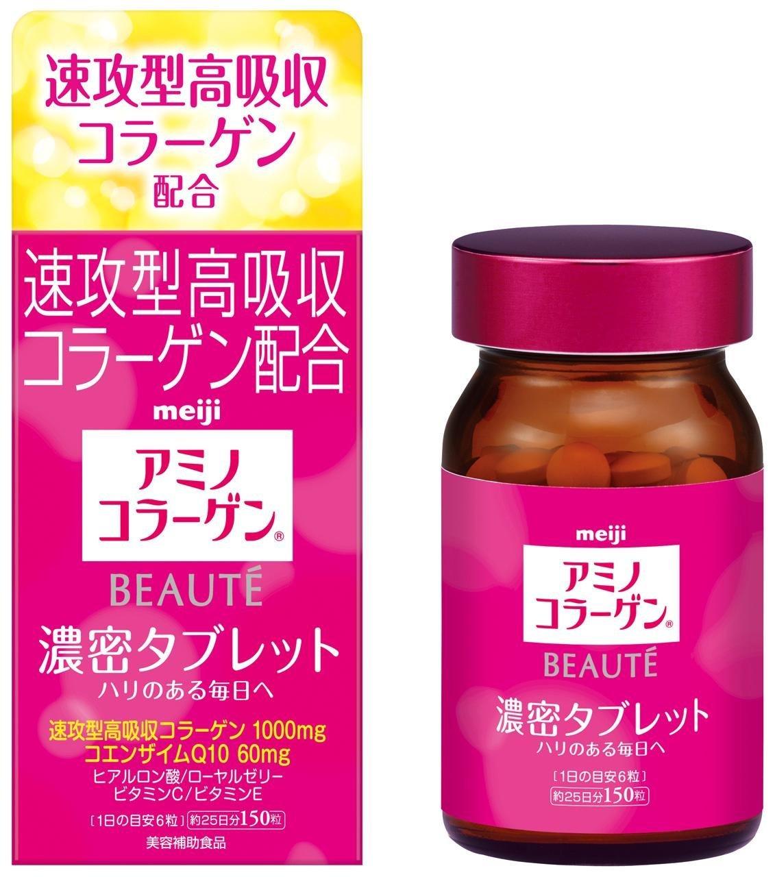Meiji The Collagen Beaute có dạng viên nén chứa hàm lượng collagen lên đến 1000mg