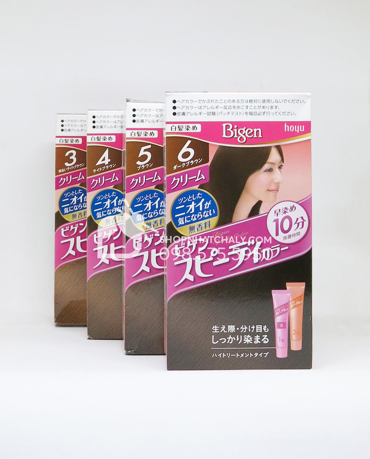 Thuốc nhuộm tóc Bigen Speedy dạng tuýp màu nâu 3G 4G 5G 6G
