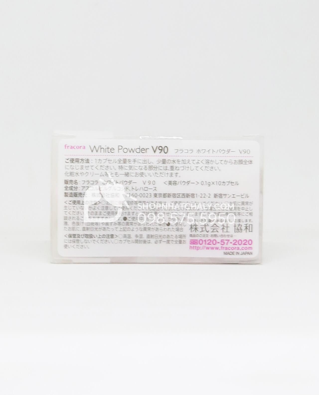 Bột dưỡng trắng da Fracora White Powder V90 Nhật Bản - thông tin sản phẩm