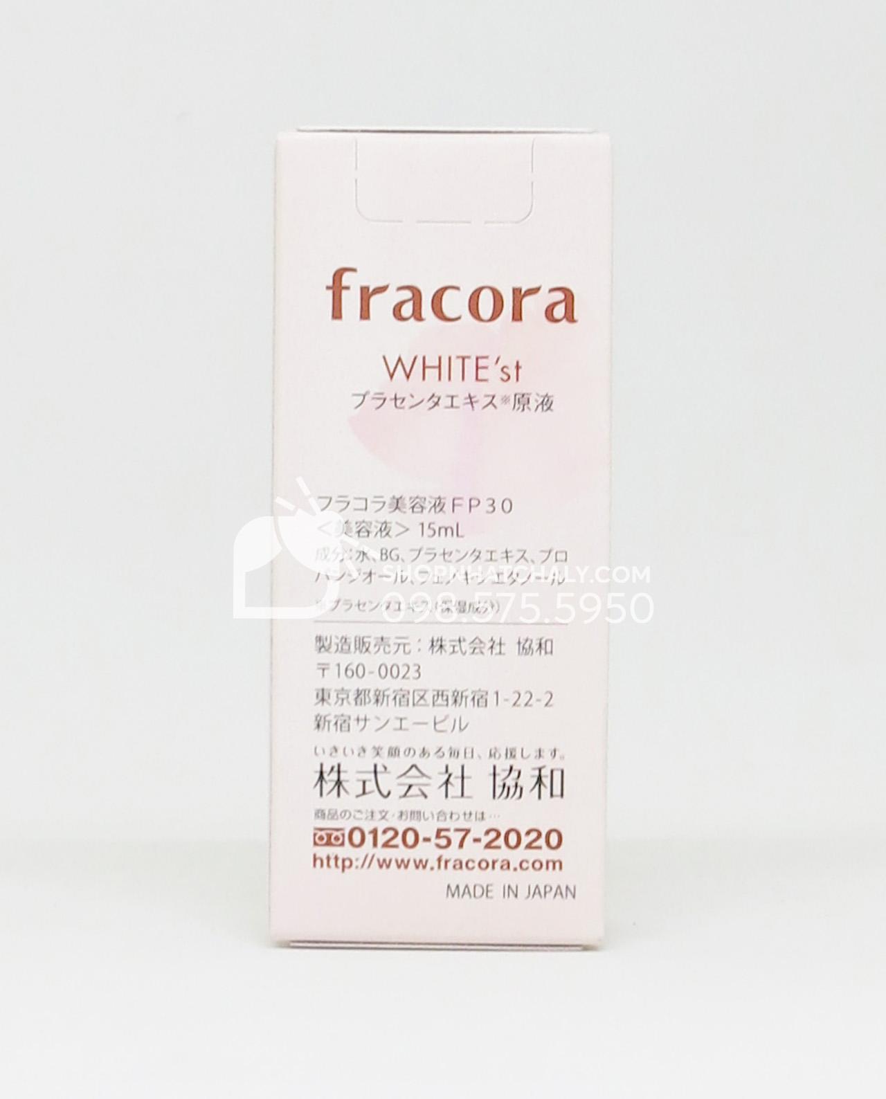 Serum nhau thai Fracora White'st Placenta Extract dưỡng trắng chống lão hóa Nhật Bản - thông tin sản phẩm