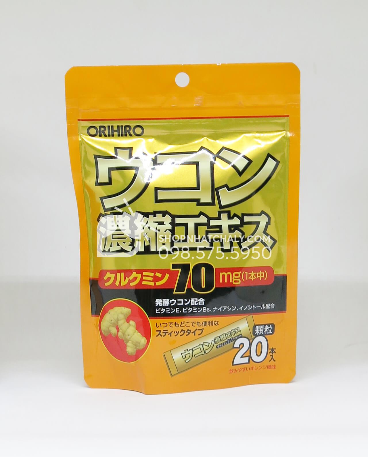 Túi bột nghệ giải độc gan Orihiro gồm 20 gói đóng pack riêng rất tiện lợi. Curucumin là thành phần chính giúp chống hấp thụ các chất có hại vào gan, chống say rượu, hạn chế tác dụng của rượu bia và thanh lọc gan nhanh chóng