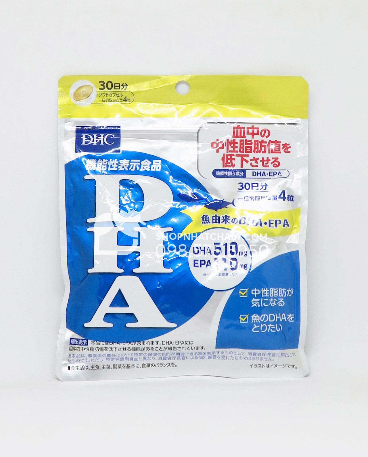 Viên DHA EPA của DHC giảm mỡ máu, bổ não 120 viên 30 ngày