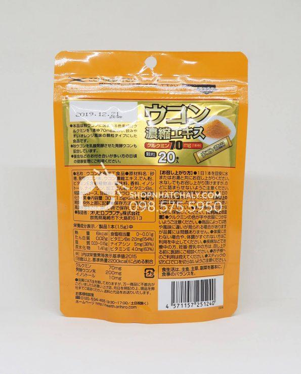 Bột nghệ giải rượu UKON giải độc gan Orihiro túi 20 gói date mới nhất đến tháng 12/2019