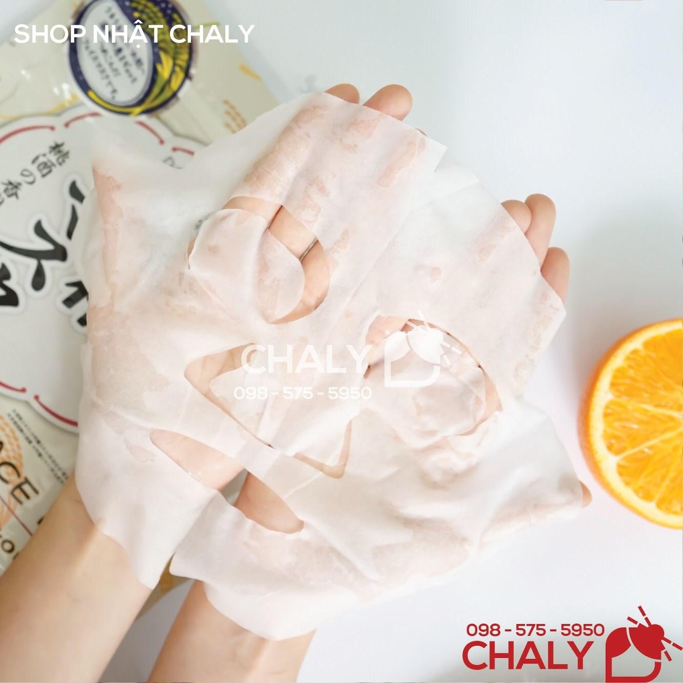 Miếng mặt nạ Sake Kasu 33 miếng của Nhật dày vừa phải, không bí rích. Khô sau khoảng 20 phút