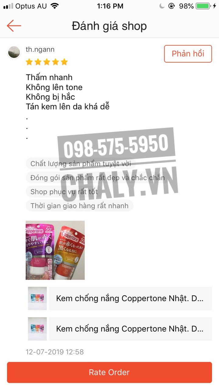 Review kem chống nắng Coppertone của Nhật thực từ người dùng sau khi mua hàng tại Chaly