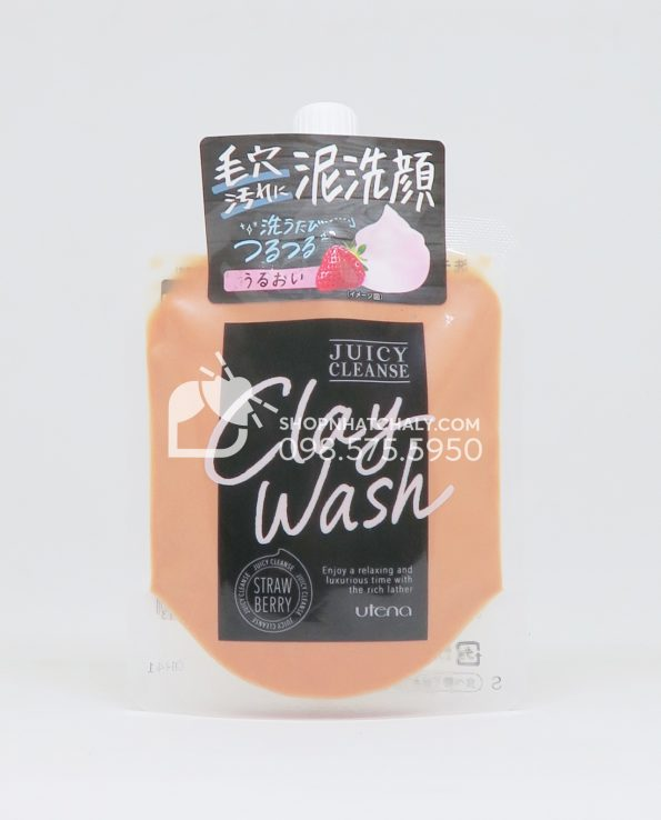 Sữa rửa mặt đất sét Utena Juicy Cleanse Clay Wash - Strawberry