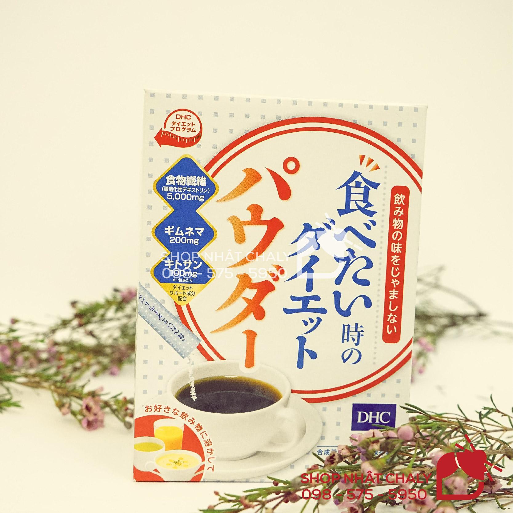 Bột giảm cân của DHC Nhật có công thức bổ sung 5000mg chất xơ thực vật, cùng 200mg gymnema và 100mg chitosan, vừa giảm hấp thụ đường và mỡ, vừa giúp điều chỉnh lượng ăn, trị táo bón, hỗ trợ giảm cân, đẹp da