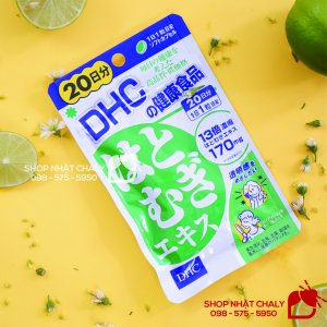 Viên uống trắng da DHC Nhật với thành phần ý dĩ hatomugi đậm đặc gấp 13 lần. Mỗi liều cung cấp 170mg hatomugi