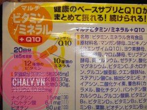 Bảng thành phần mặt sau túi Vitamin tổng hơp cho người lớn gồm 12 loại vitamin, 10 loại khoáng chất và Coenzyme Q10