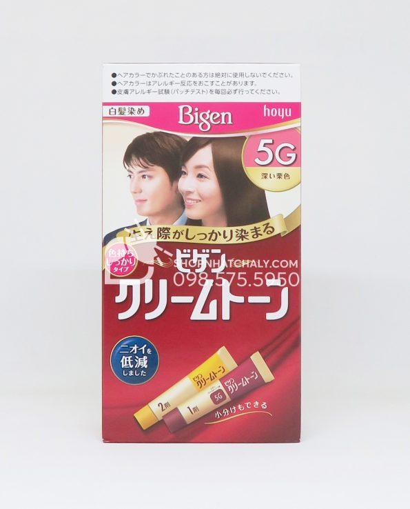 Thuốc nhuộm tóc phủ bạc thảo dược Bigen Hoyu Cream Tone 5G màu nâu