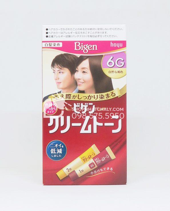 Thuốc nhuộm tóc phủ bạc thảo dược Bigen Hoyu Cream Tone 6G màu nâu đen
