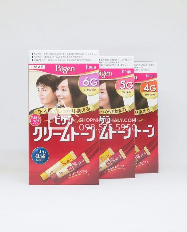 Thuốc nhuộm tóc phủ bạc thảo dược Bigen Hoyu Cream Tone màu nâu