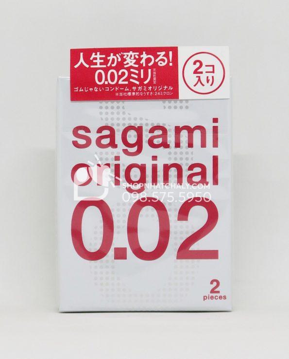 Bao cao su siêu mỏng của Nhật Sagami 0.02mm hộp 2 chiếc