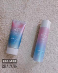 Kem chống nắng skin aqua của nhật bản có 2 dạng: tuýp essence và chai xịt spray, cả 2 đều là lựa chọn hoàn hảo cho da dầu mụn mẫn cảm