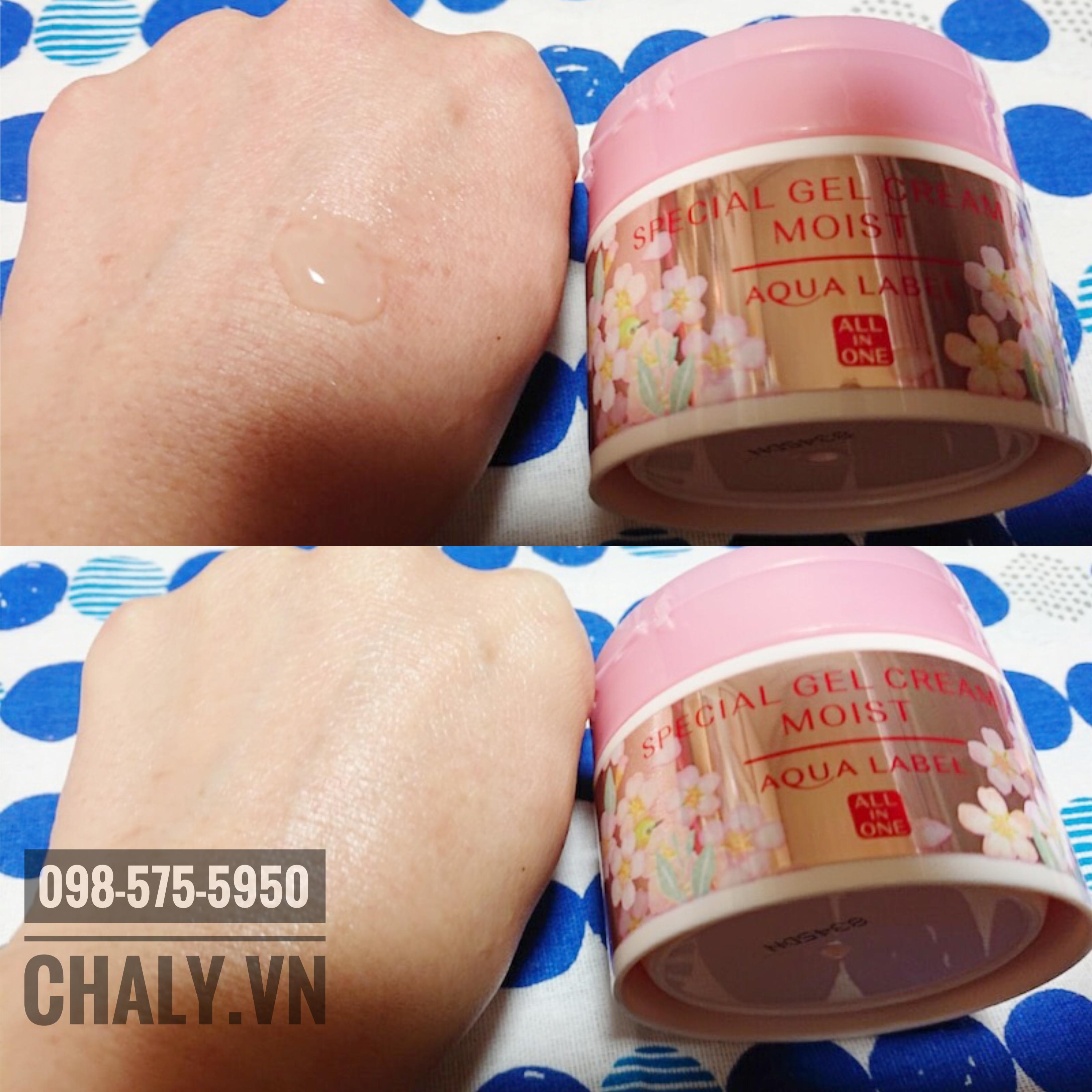 Chất kem gel của kem Shiseido Aqualabel Special Cream sếnh mịn, thẩm thấu nhanh, không bết rít