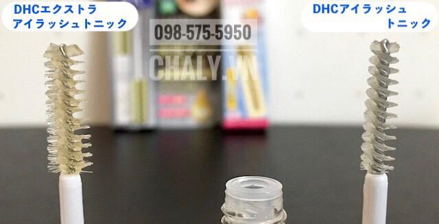 Đầu cọ của dưỡng mi DHC Eyelash Tonic thường (bên phải) và DHC Extra Beauty Eyelash Tonic cải tiến (bên trái)