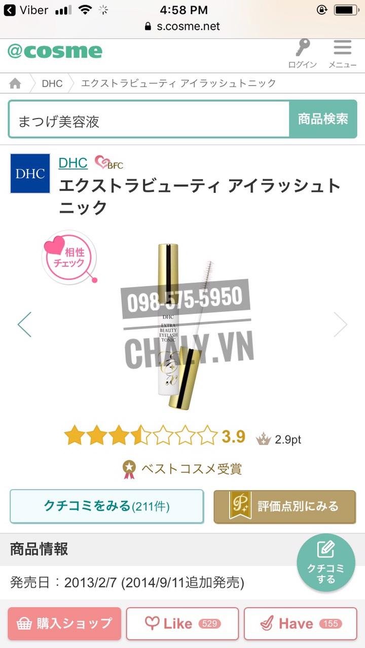 Dưỡng mi DHC extra beauty eyelash tonic review cao trên chuyên trang Cosme Ranking, lọt danh sách best cosmetics, mỹ phẩm Nhật tốt nhất