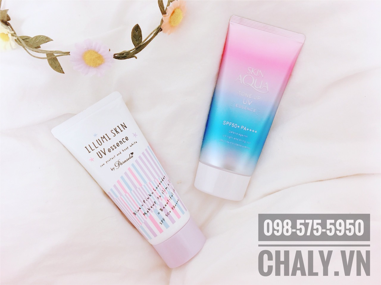 Illumi Skin bên trái phù hợp da thường tới khô. Còn Skin Aqua UV bên phải phù hợp da dầu