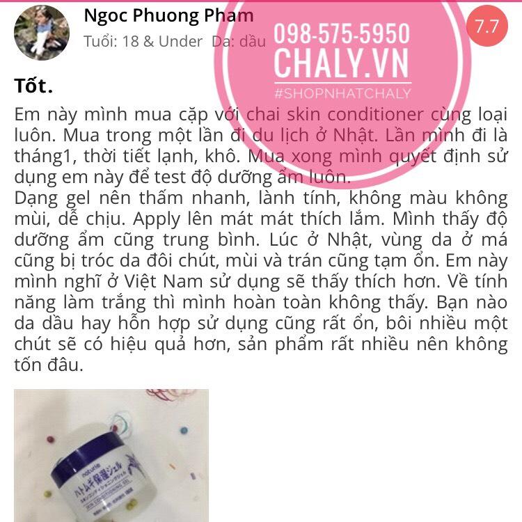 Kem Naturie có độ ẩm vừa phải, không bết dính da. Mình thấy phù hợp để sử dụng ở Việt Nam. Chất gel rất lành và mát khi thoa, sướng lắm
