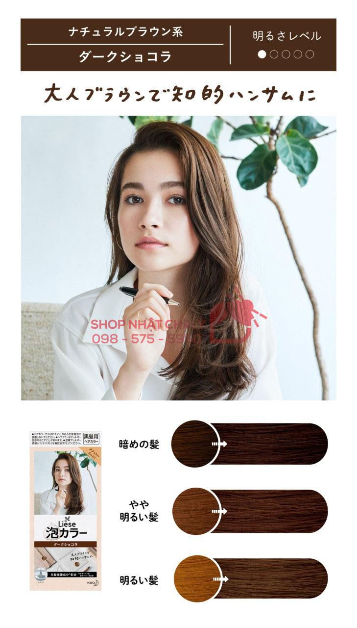 Bảng màu thuốc nhuộm tóc Liese Prettia: màu dark chocolate