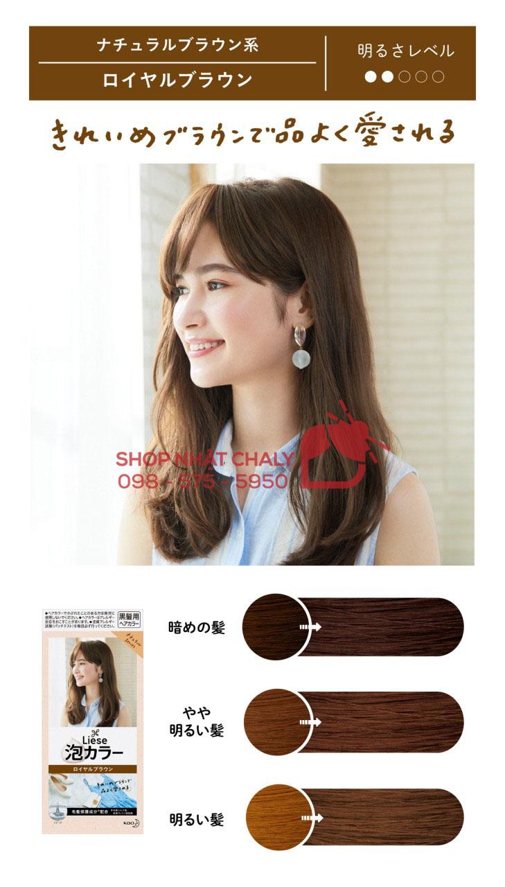 Bảng màu thuốc nhuộm tóc Liese Prettia: màu royal brown