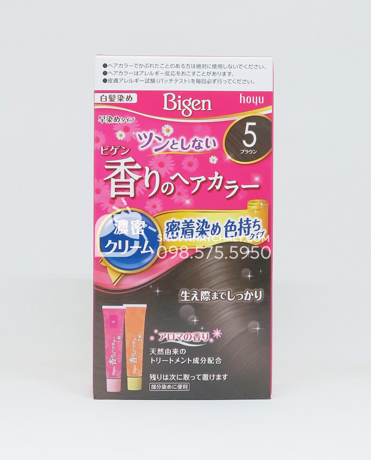 Thuốc nhuộm Bigen Nhật flavored màu số 5 = nâu tự nhiên, natural brown