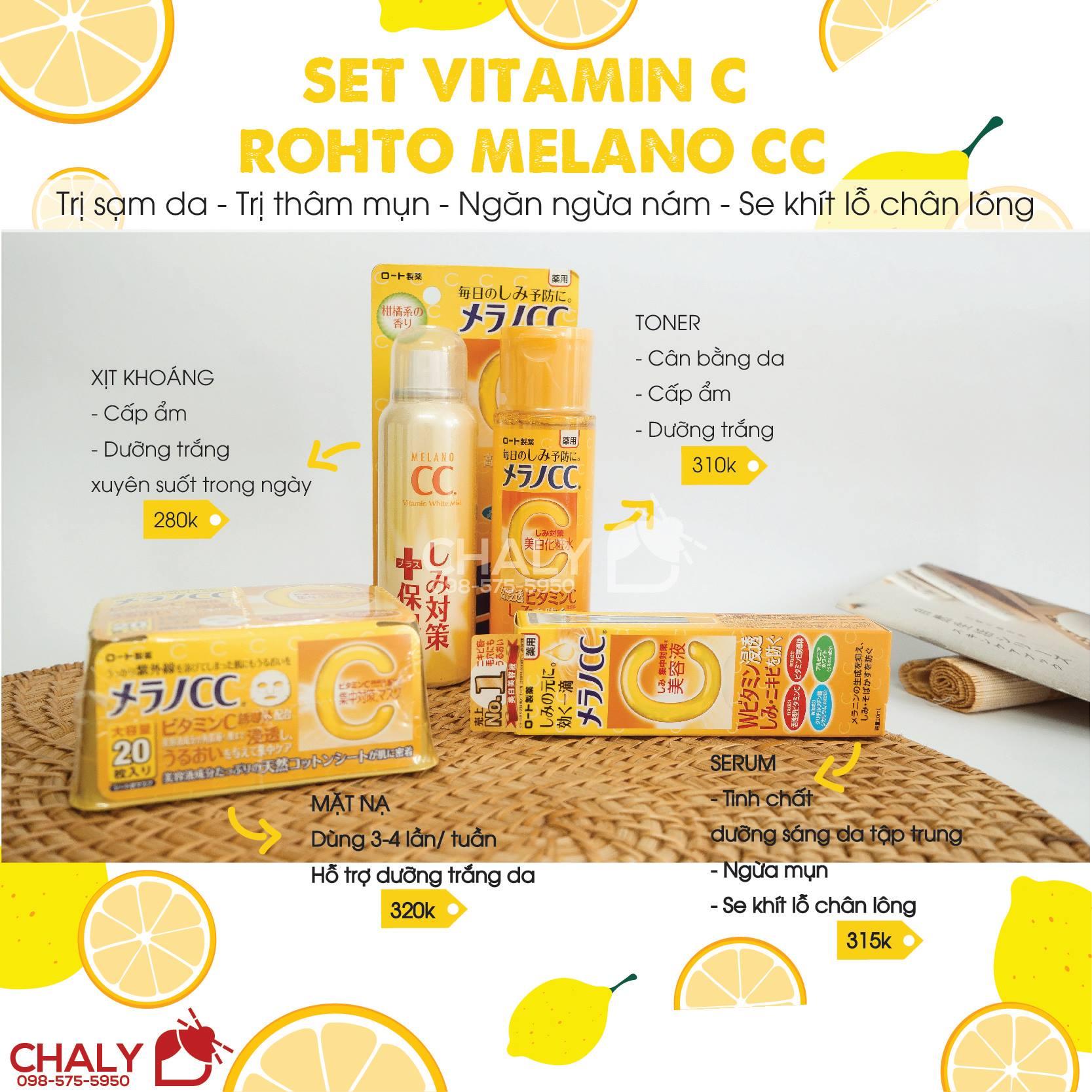 Bộ mỹ phẩm vitamin C Melano Rohto Nhật nội địa trị thâm mụn hiệu quả