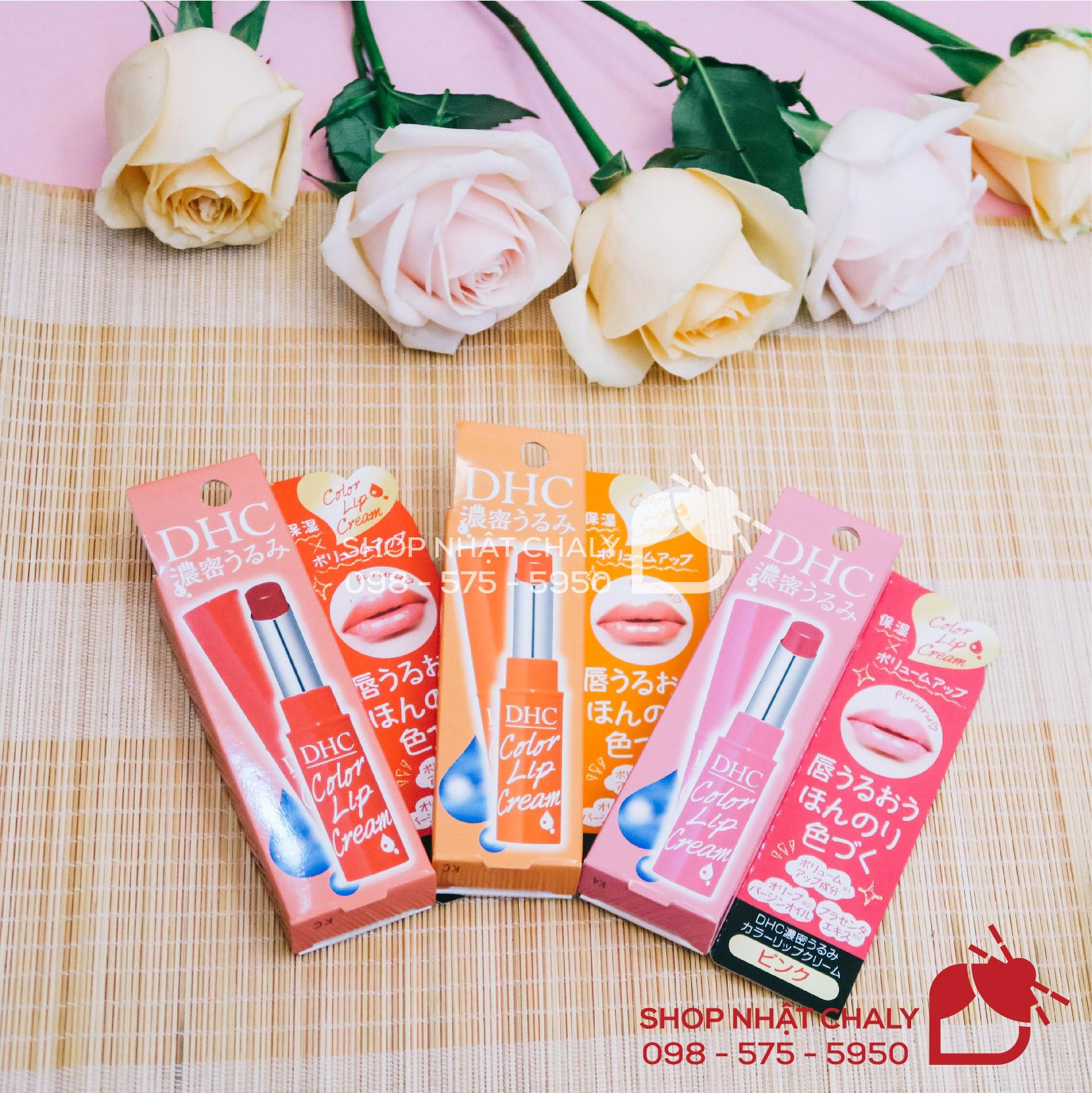 Son dưỡng môi DHC Nhật Bản color lip cream có 3 màu tươi tắn