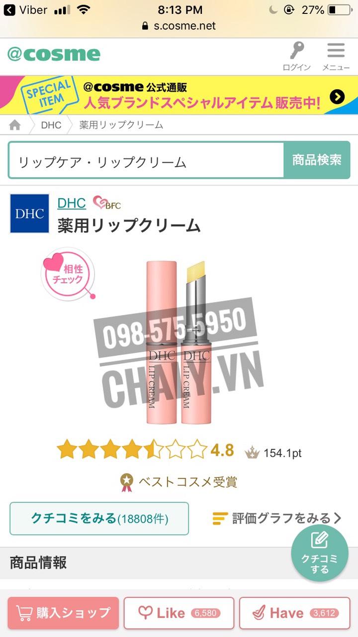 Son dưỡng môi DHC của Nhật đạt giải Best Cosmetics trên Cosme Ranking với gần 20 nghìn review khen ngợi và lịch sử 20 năm tại Nhật Bản