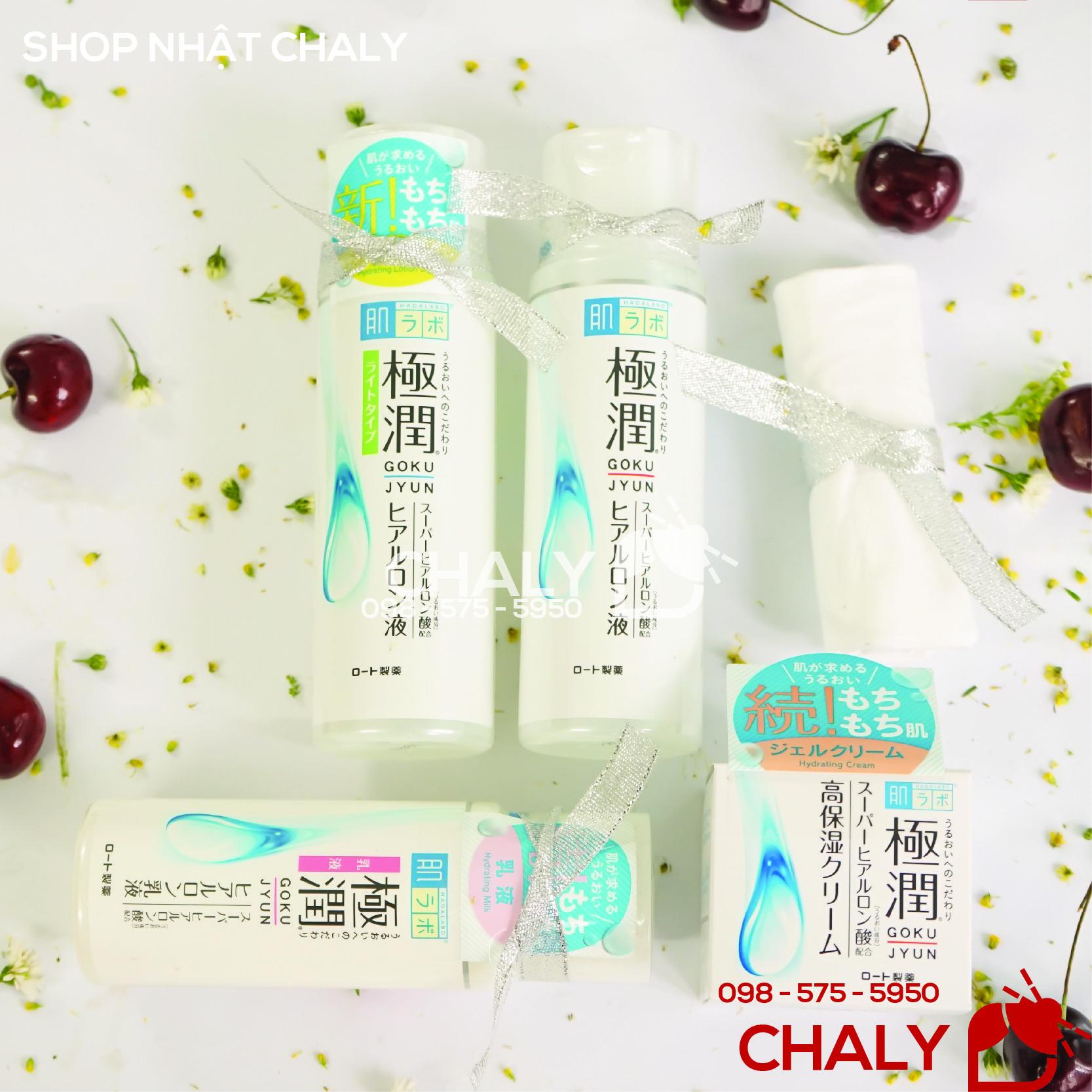 Nguyên bộ sản phẩm dưỡng da, cấp ẩm không cồn, không hương liệu cực kỳ lành tính, an toàn cho bà bầu của Hada Labo Nhật Bản