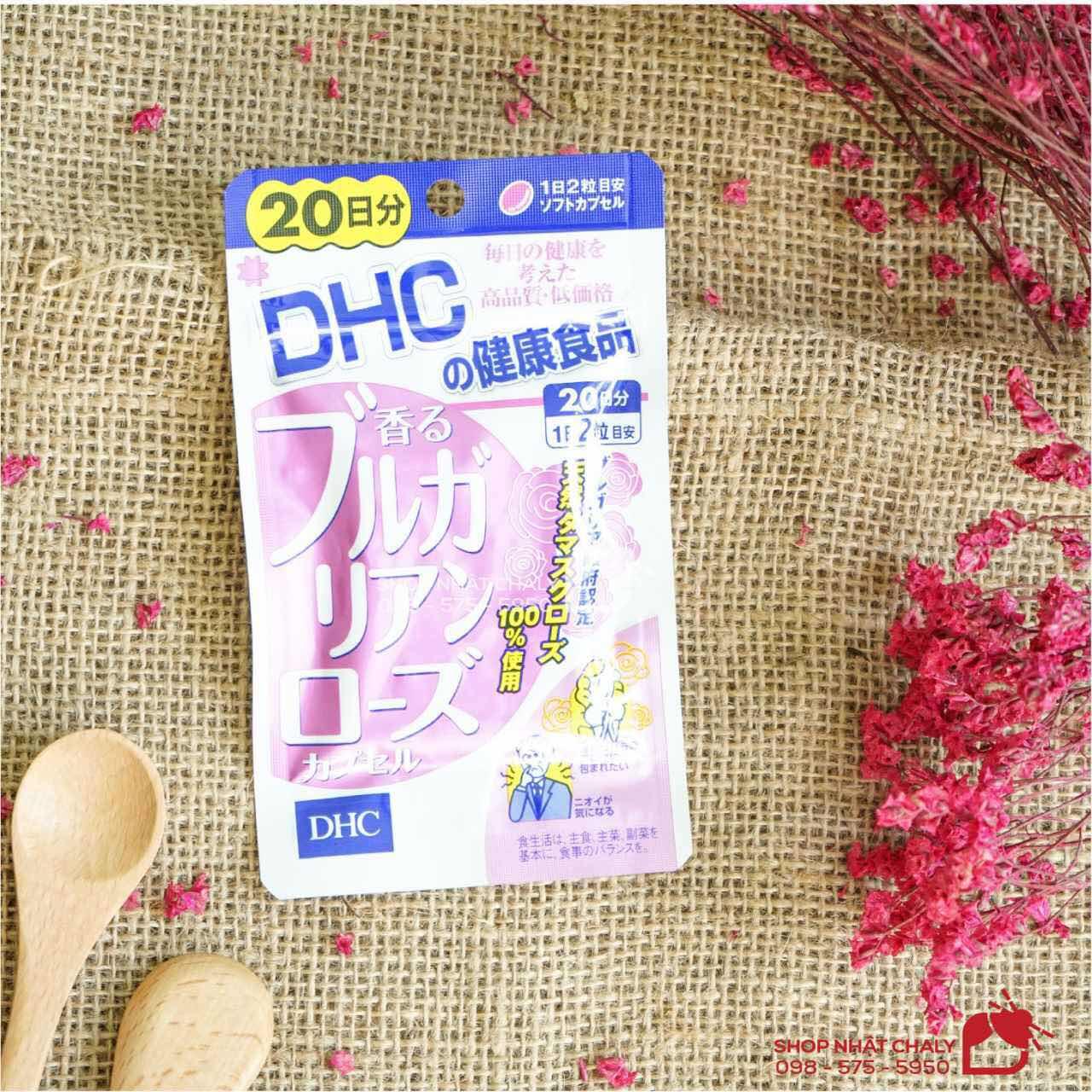 Viên uống thơm cơ thể DHC tinh dầu hoa hồng của Nhật có 2 size 40 viên (20 ngày) và 60 viên (30 ngày)