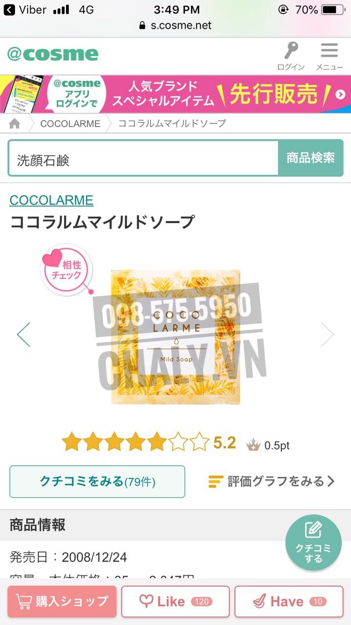 Xà phòng Cocolarme Mild Soap VCO được review cao chót vót tận 5.2 trên Cosme Ranking Nhật