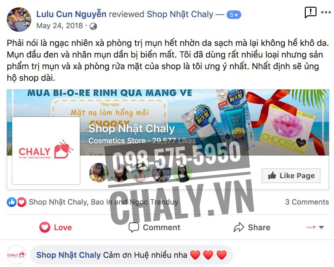 Review xà phòng rửa mặt trị mụn của Nhật thành phần than hoạt tính và bùn khoáng trên facebook Shop Nhật Chaly